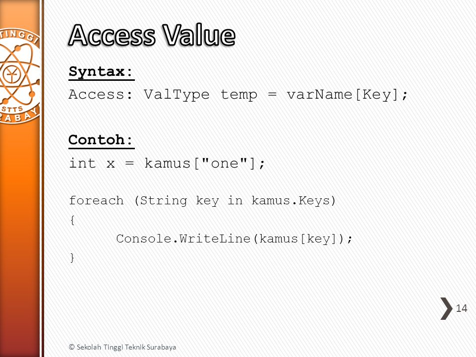 Syntax: Access: ValType temp = varName[Key]; Contoh: int x = kamus[