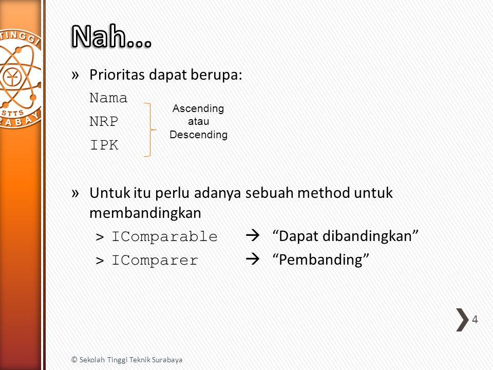 » Prioritas dapat berupa: Nama NRP IPK » Untuk itu perlu adanya sebuah method untuk membandingkan ˃ IComparable  Dapat dibandingkan ˃ IComparer  Pembanding 4 © Sekolah Tinggi Teknik Surabaya Ascending atau Descending