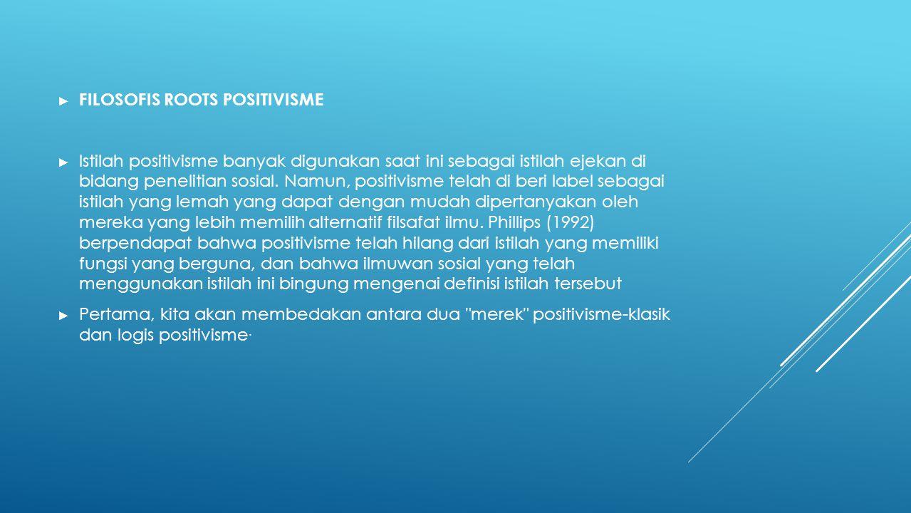 ► FILOSOFIS ROOTS POSITIVISME ► Istilah positivisme banyak digunakan saat ini sebagai istilah ejekan di bidang penelitian sosial.