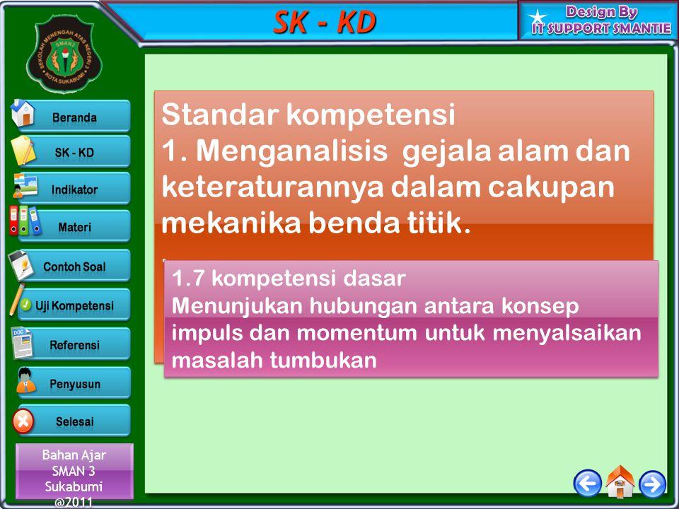 Bahan Ajar SMAN 3 Sukabumi @2011 Bahan Ajar SMAN 3 Sukabumi @2011 SK - KD Standar kompetensi 1. Menganalisis gejala alam dan keteraturannya dalam caku