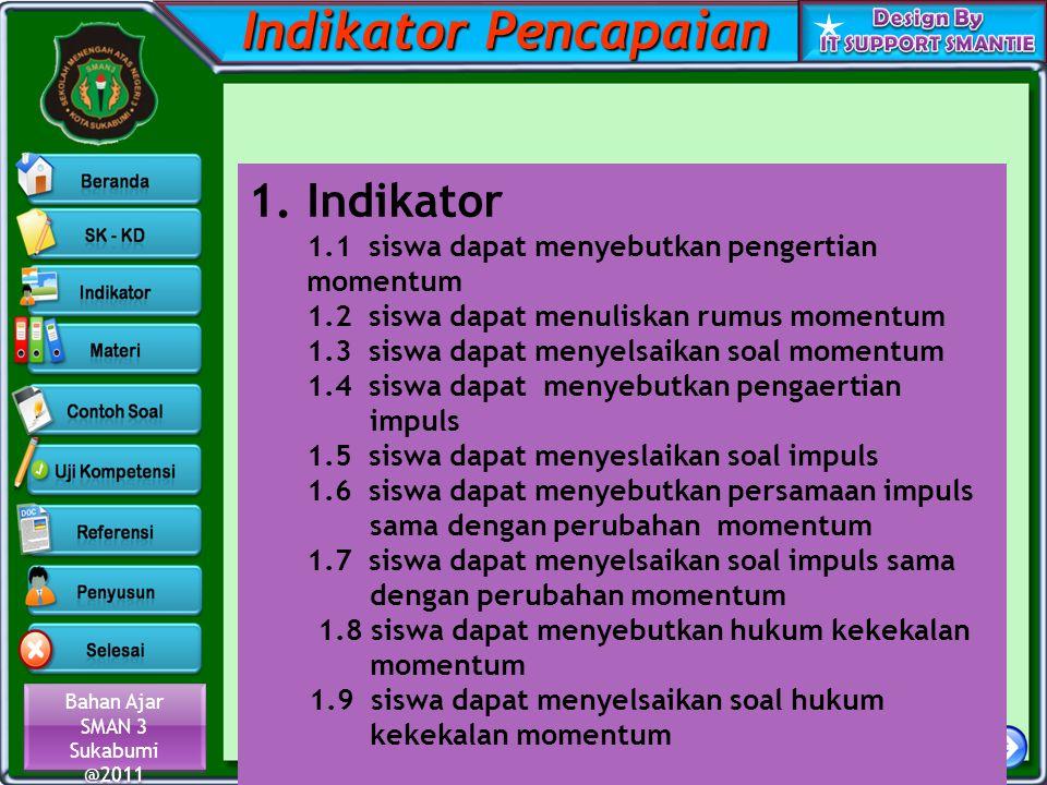 Bahan Ajar SMAN 3 Sukabumi @2011 Bahan Ajar SMAN 3 Sukabumi @2011 Indikator Pencapaian 1.Indikator 1.1 siswa dapat menyebutkan pengertian momentum 1.2