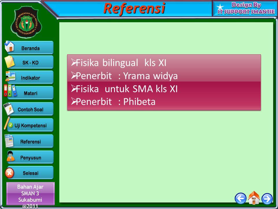 Bahan Ajar SMAN 3 Sukabumi @2011 Bahan Ajar SMAN 3 Sukabumi @2011  Fisika bilingual kls XI  Penerbit : Yrama widya  Fisika untuk SMA kls XI  Pener