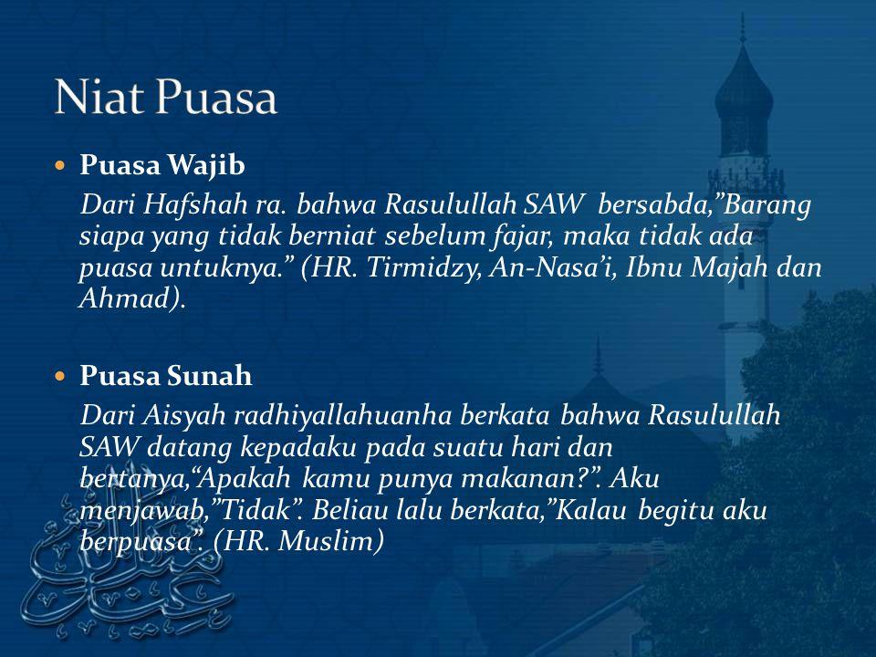 Puasa Wajib Dari Hafshah ra.