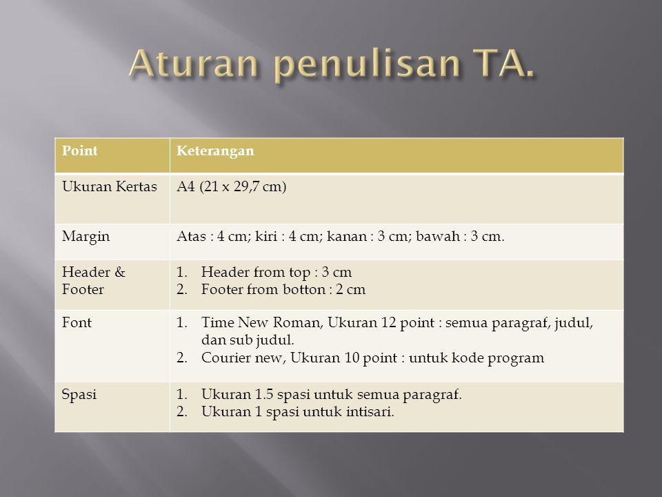 PointKeterangan Ukuran KertasA4 (21 x 29,7 cm) MarginAtas : 4 cm; kiri : 4 cm; kanan : 3 cm; bawah : 3 cm. Header & Footer 1.Header from top : 3 cm 2.