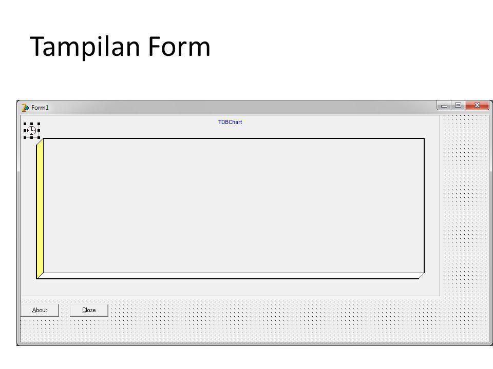 Masukan kode dibwah ini procedure TForm1.FormActivate(Sender: TObject); var i,j : integer; begin with DBChart1 do for i := 0 to SeriesCount-1 do for j := 1 to 15 do series[i].AddXY(j,random(5), ,clteecolor); end;
