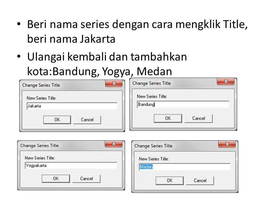 Beri nama series dengan cara mengklik Title, beri nama Jakarta Ulangai kembali dan tambahkan kota:Bandung, Yogya, Medan