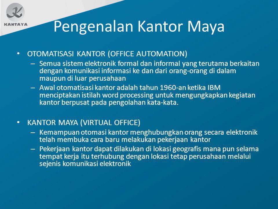 Pengenalan Kantor Maya OTOMATISASI KANTOR (OFFICE AUTOMATION) – Semua sistem elektronik formal dan informal yang terutama berkaitan dengan komunikasi