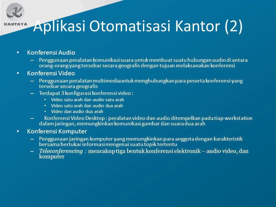 Aplikasi Otomatisasi Kantor (2) Konferensi Audio – Penggunaan peralatan komunikasi suara untuk membuat suatu hubungan audio di antara orang-orang yang