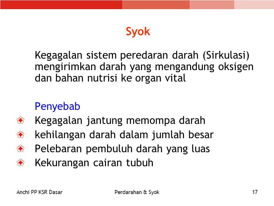 Anchi PP KSR DasarPerdarahan & Syok17 Syok Kegagalan sistem peredaran darah (Sirkulasi) mengirimkan darah yang mengandung oksigen dan bahan nutrisi ke