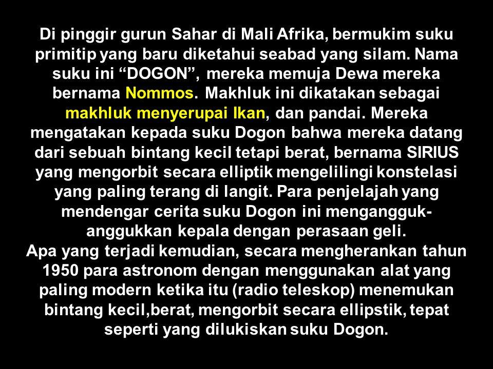 Suku Dogon bukan suku satu-satunya yang telah dikunjungi mahkluk seperti itu.