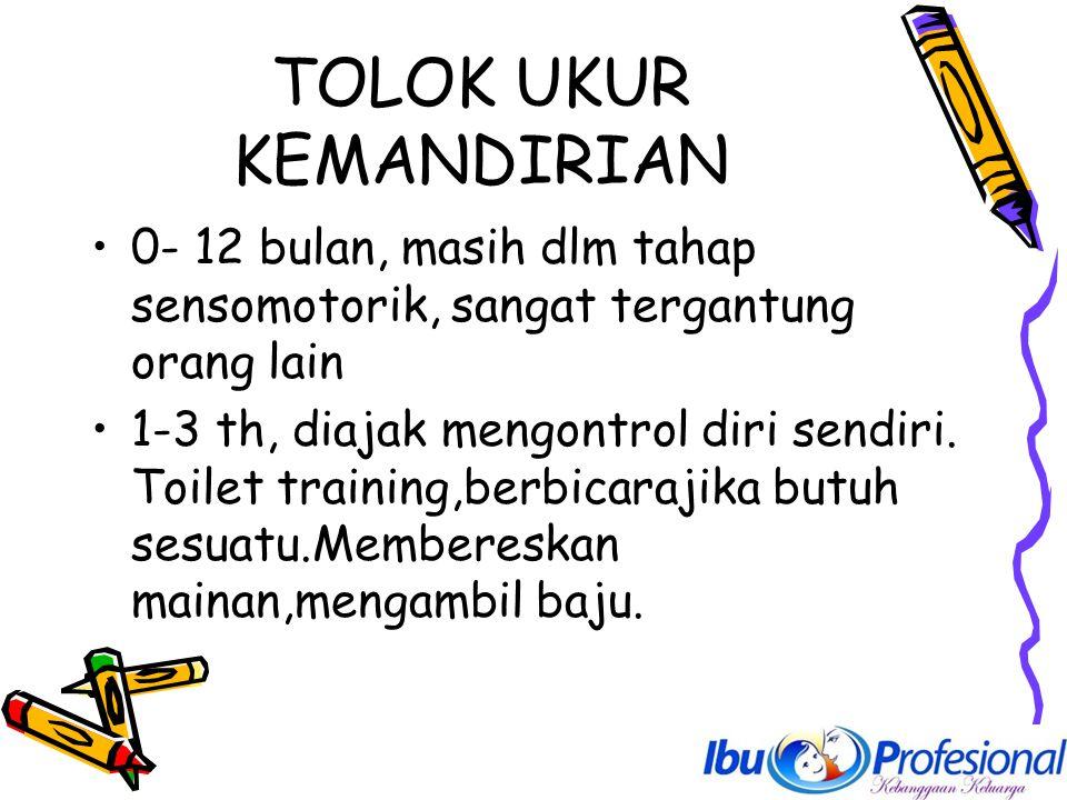 TOLOK UKUR KEMANDIRIAN 0- 12 bulan, masih dlm tahap sensomotorik, sangat tergantung orang lain 1-3 th, diajak mengontrol diri sendiri. Toilet training