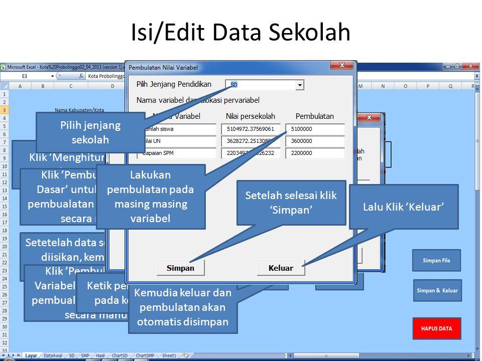 Isi/Edit Data Sekolah Setetelah data semua selesai diisikan, kemudian klik 'Perhitungan' Klik 'Menghitung' untuk mulai menghitung Klik 'Pembulan Aloka