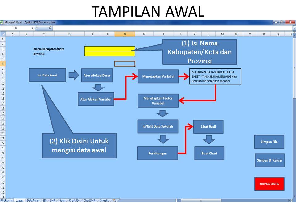 TAMPILAN AWAL (1) Isi Nama Kabupaten/ Kota dan Provinsi (2) Klik Disini Untuk mengisi data awal