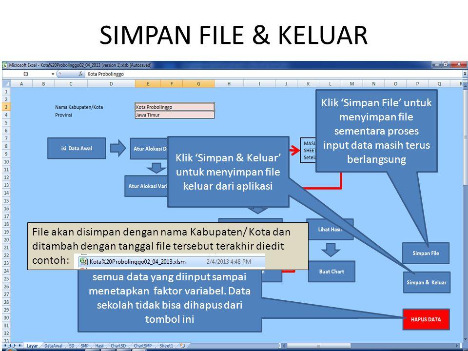 SIMPAN FILE & KELUAR Klik 'Simpan File' untuk menyimpan file sementara proses input data masih terus berlangsung Klik 'Simpan & Keluar' untuk menyimpan file keluar dari aplikasi 'Hapus Data' untuk menghapus semua data yang diinput sampai menetapkan faktor variabel.
