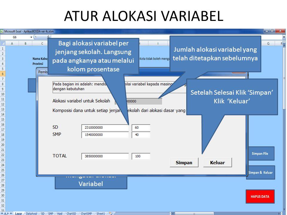 ATUR ALOKASI VARIABEL Klik 'Atur Alokasi Variabel' untuk mengatur alokasi Variabel Jumlah alokasi variabel yang telah ditetapkan sebelumnya Bagi alokasi variabel per jenjang sekolah.