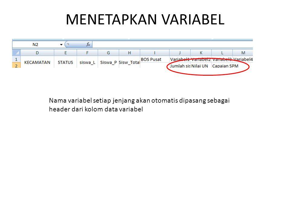 MENETAPKAN VARIABEL Nama variabel setiap jenjang akan otomatis dipasang sebagai header dari kolom data variabel