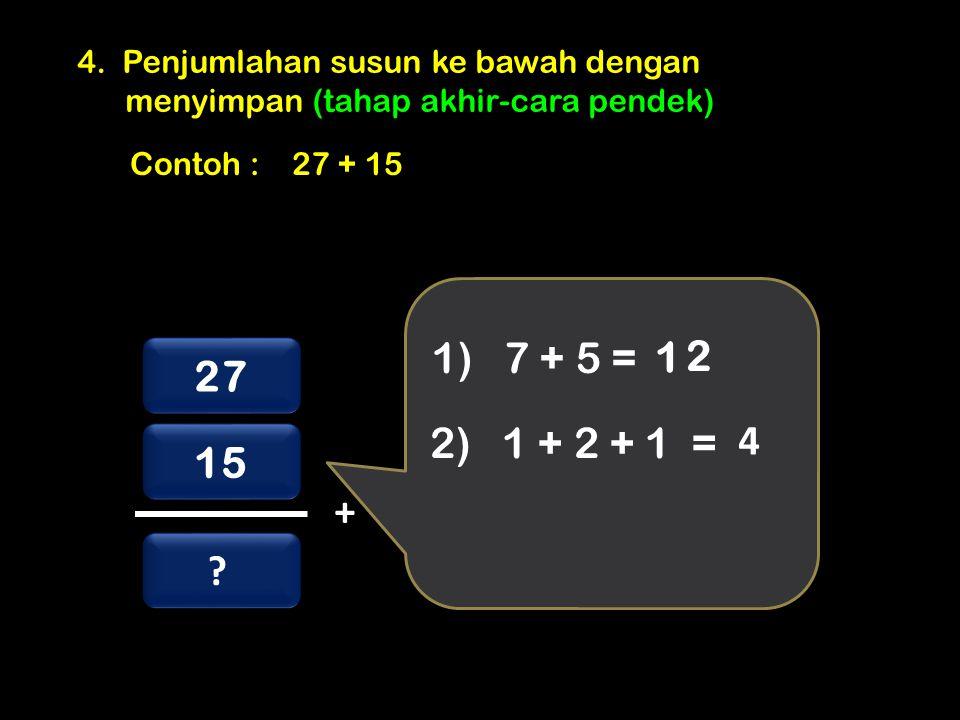 4. Penjumlahan susun ke bawah dengan menyimpan (tahap akhir-cara pendek) Contoh : 27 + 15 27 15 + .