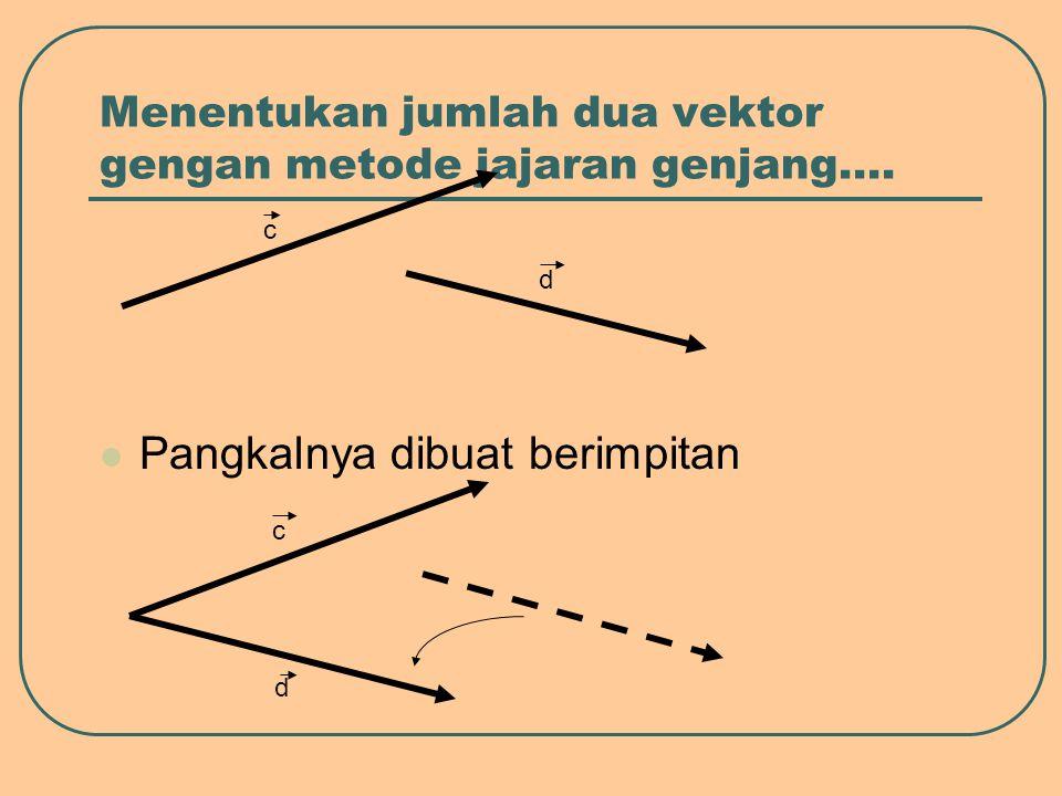 Menentukan jumlah dua vektor gengan metode jajaran genjang…. Pangkalnya dibuat berimpitan c d c d