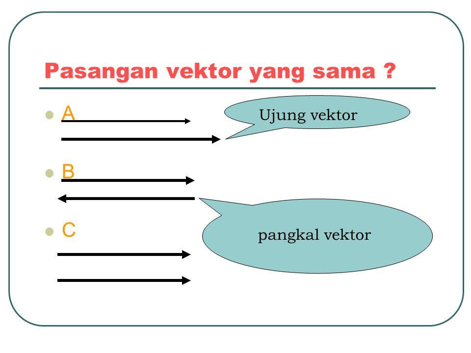 Pasangan vektor yang sama ? A B C Ujung vektor pangkal vektor
