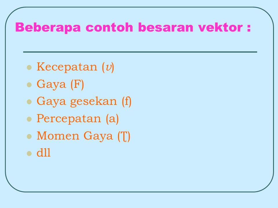Beberapa contoh besaran vektor : Kecepatan ( v ) Gaya (F) Gaya gesekan (f) Percepatan (a) Momen Gaya ( Ʈ ) dll