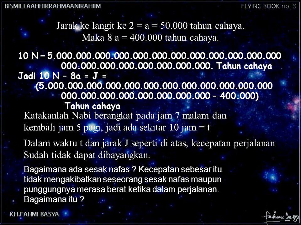 Jarak ke langit ke 2 = a = 50.000 tahun cahaya. Maka 8 a = 400.000 tahun cahaya. Dalam waktu t dan jarak J seperti di atas, kecepatan perjalanan Sudah