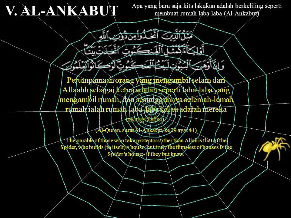 Apa yang baru saja kita lakukan adalah berkeliling seperti membuat rumah laba-laba (Al-Ankabut) V.