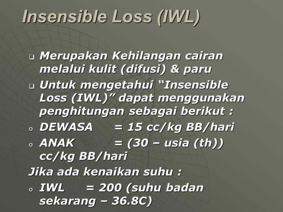 """Insensible Loss (IWL)  Merupakan Kehilangan cairan melalui kulit (difusi) & paru  Untuk mengetahui """"Insensible Loss (IWL)"""" dapat menggunakan penghit"""