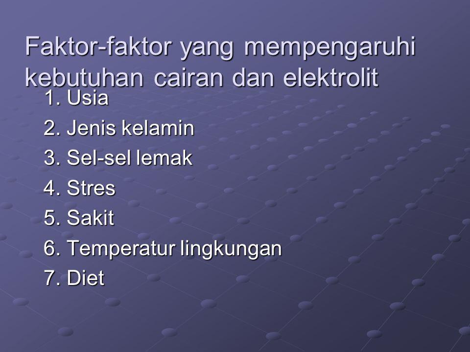 Faktor-faktor yang mempengaruhi kebutuhan cairan dan elektrolit 1. Usia 2. Jenis kelamin 3. Sel-sel lemak 4. Stres 5. Sakit 6. Temperatur lingkungan 7