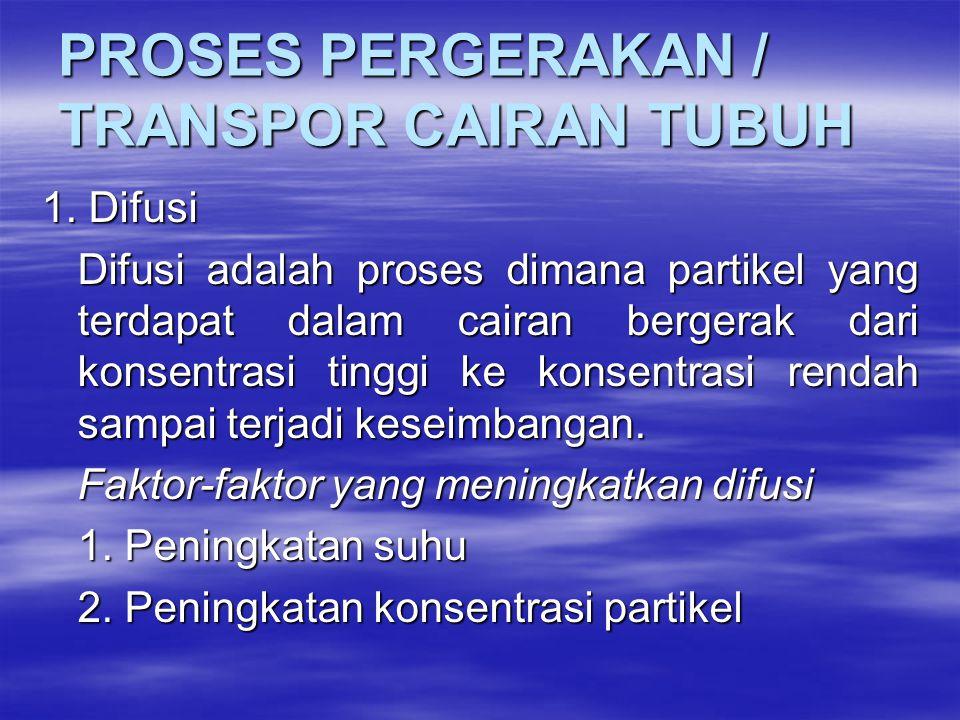 PROSES PERGERAKAN / TRANSPOR CAIRAN TUBUH 1. Difusi Difusi adalah proses dimana partikel yang terdapat dalam cairan bergerak dari konsentrasi tinggi k