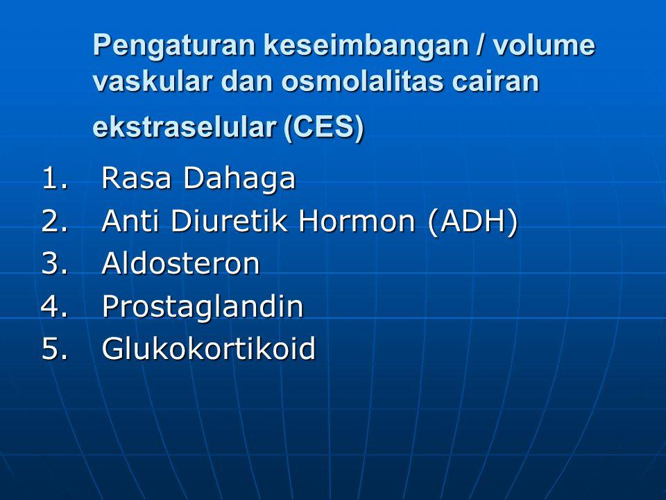 Pengaturan keseimbangan / volume vaskular dan osmolalitas cairan ekstraselular (CES) 1. Rasa Dahaga 2. Anti Diuretik Hormon (ADH) 3. Aldosteron 4. Pro