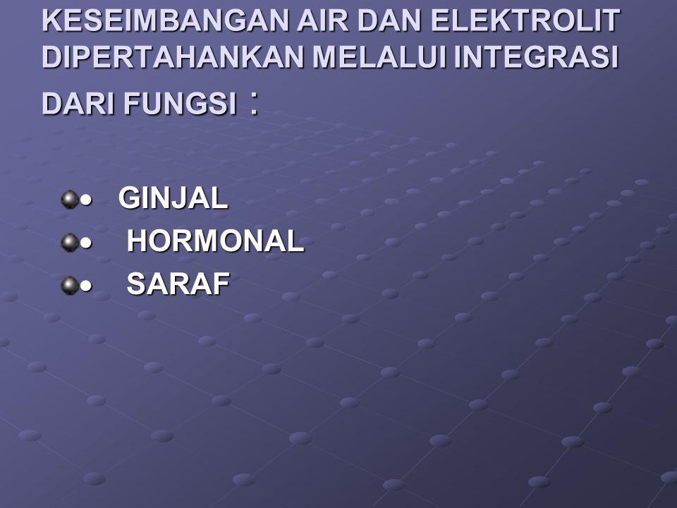 KESEIMBANGAN AIR DAN ELEKTROLIT DIPERTAHANKAN MELALUI INTEGRASI DARI FUNGSI :  GINJAL  HORMONAL  SARAF