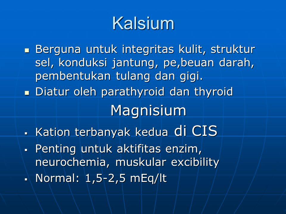Kalsium Berguna untuk integritas kulit, struktur sel, konduksi jantung, pe,beuan darah, pembentukan tulang dan gigi. Berguna untuk integritas kulit, s