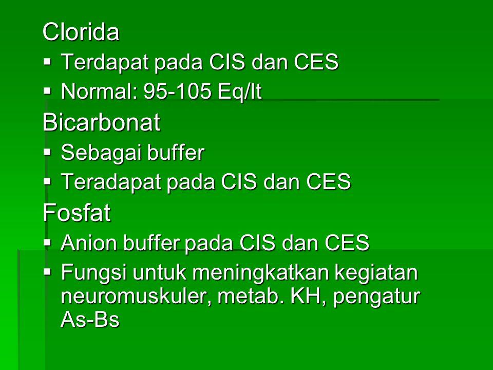 Clorida  Terdapat pada CIS dan CES  Normal: 95-105 Eq/lt Bicarbonat  Sebagai buffer  Teradapat pada CIS dan CES Fosfat  Anion buffer pada CIS dan
