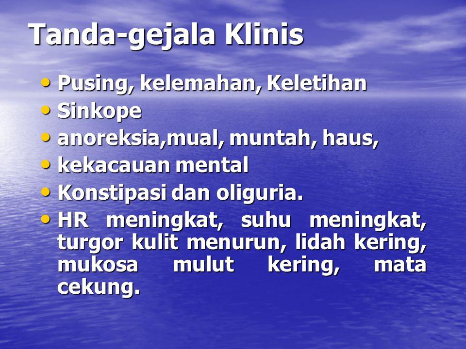 Tanda-gejala Klinis Pusing, kelemahan, Keletihan Pusing, kelemahan, Keletihan Sinkope Sinkope anoreksia,mual, muntah, haus, anoreksia,mual, muntah, ha