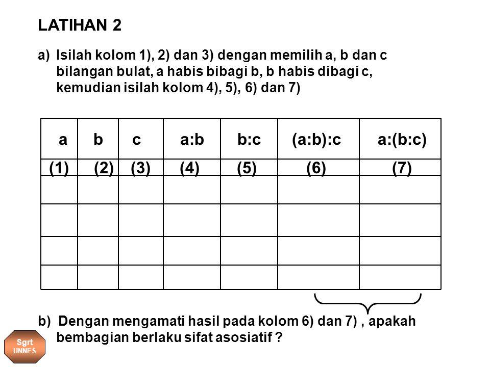 a bca:bb:c(a:b):ca:(b:c) (1)(7)(3)(4)(5)(6)(2) a)Isilah kolom 1), 2) dan 3) dengan memilih a, b dan c bilangan bulat, a habis bibagi b, b habis dibagi c, kemudian isilah kolom 4), 5), 6) dan 7) b) Dengan mengamati hasil pada kolom 6) dan 7), apakah bembagian berlaku sifat asosiatif .