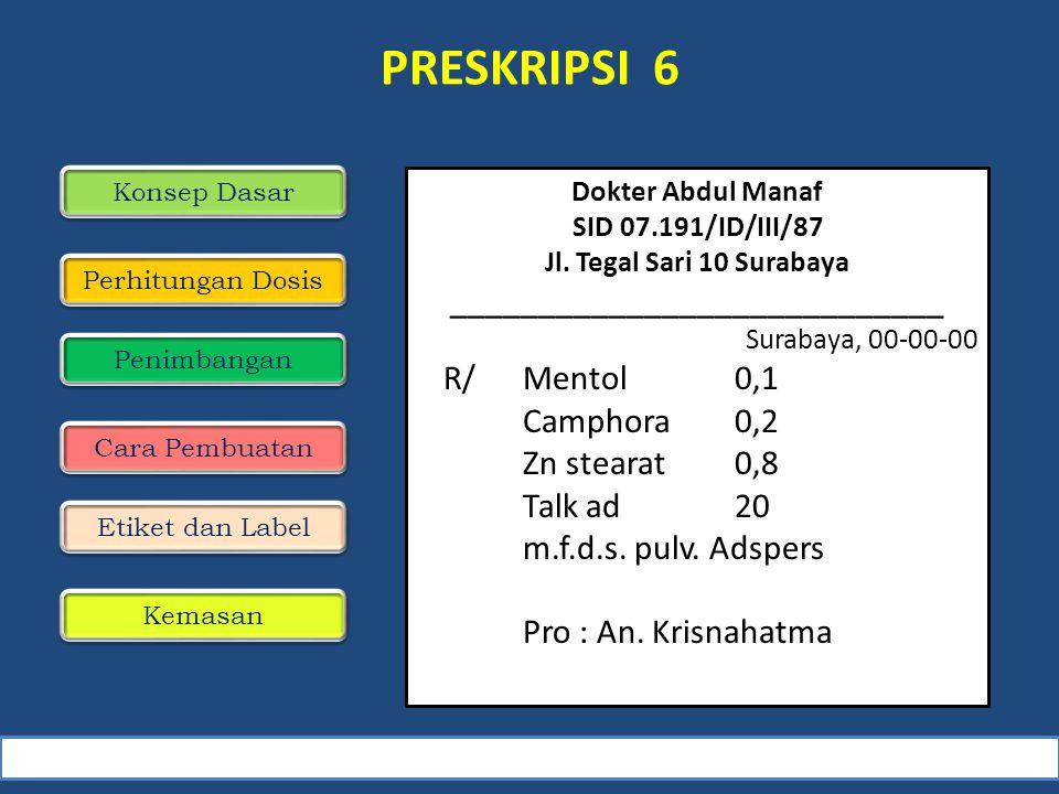 PRESKRIPSI 6 Konsep Dasar Perhitungan Dosis Penimbangan Cara Pembuatan Dokter Abdul Manaf SID 07.191/ID/III/87 Jl.