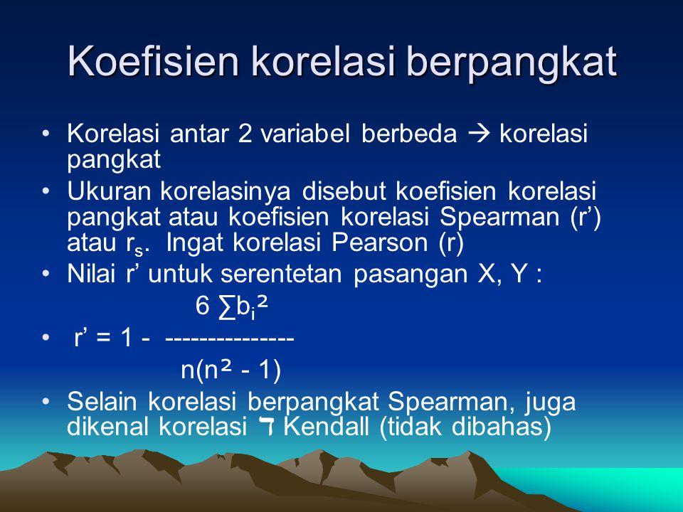 Koefisien korelasi berpangkat Korelasi antar 2 variabel berbeda  korelasi pangkat Ukuran korelasinya disebut koefisien korelasi pangkat atau koefisien korelasi Spearman (r') atau r s.