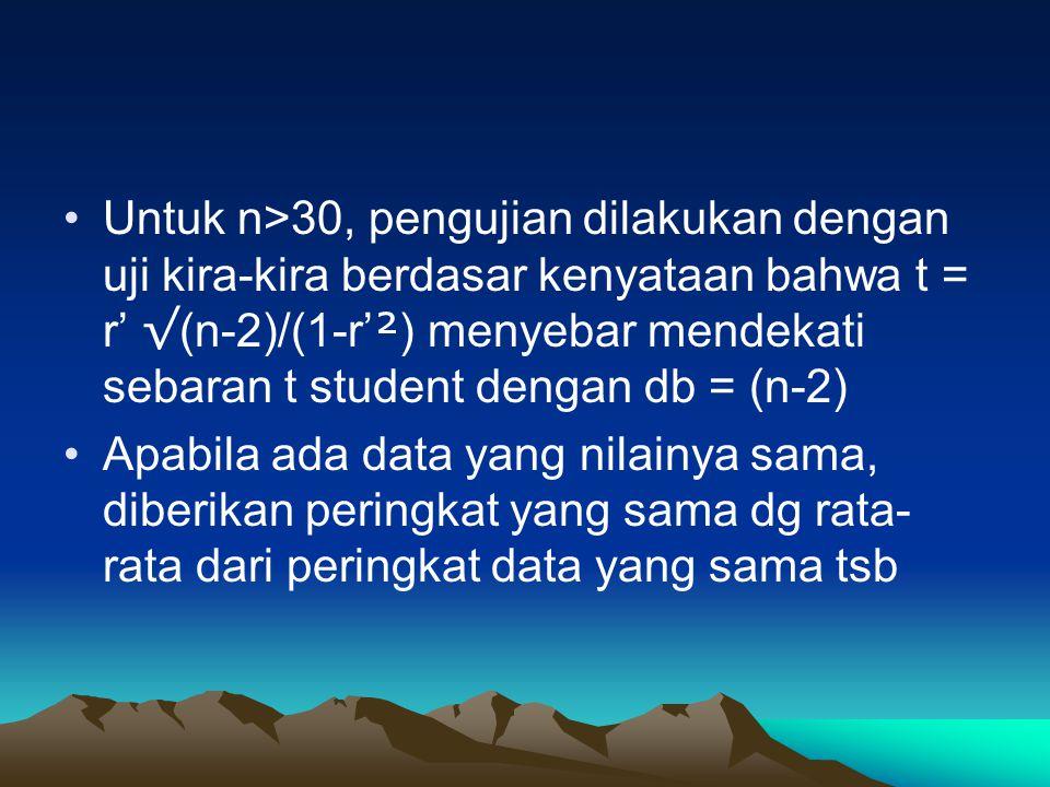 Untuk n>30, pengujian dilakukan dengan uji kira-kira berdasar kenyataan bahwa t = r' √ (n-2)/(1-r' ² ) menyebar mendekati sebaran t student dengan db = (n-2) Apabila ada data yang nilainya sama, diberikan peringkat yang sama dg rata- rata dari peringkat data yang sama tsb