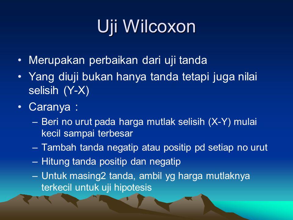 Uji Wilcoxon Uji hipotesisnya : Ho : tidak ada beda antar 2 perlakuan H1 : terdapat beda antar 2 perlakuan Untuk uji Wilcoxon tersedia tabel nilai kritis (tersedia di buku2 statistik) Cara perhitungan sama deangan uji tanda Uji Wilcoxon juga dapat untuk menguji median populasi