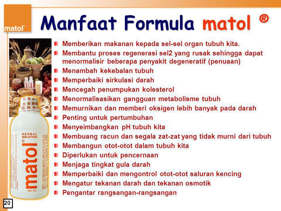 Formula matol ® 1.1.Akar Sarsaparilla 2. 2.Bunga Passion 3.