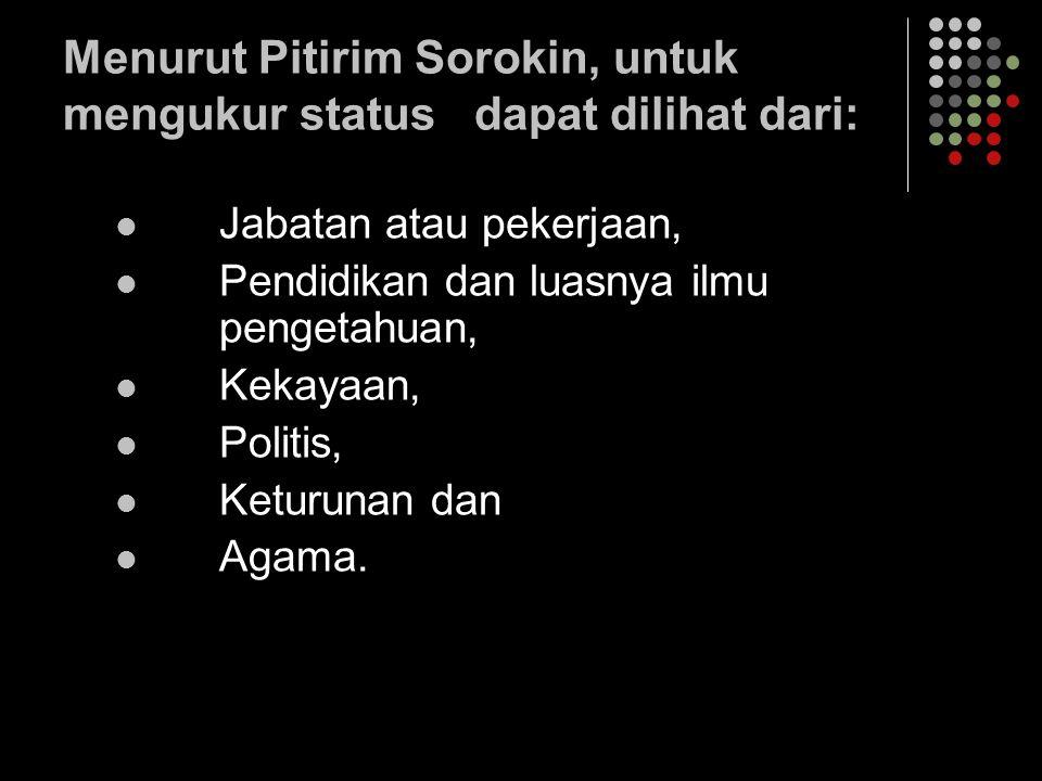 Menurut Pitirim Sorokin, untuk mengukur status dapat dilihat dari: Jabatan atau pekerjaan, Pendidikan dan luasnya ilmu pengetahuan, Kekayaan, Politis,