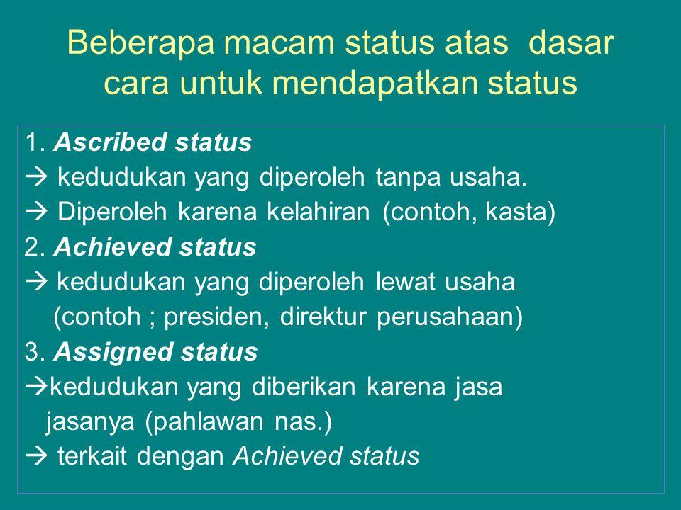 Beberapa macam status atas dasar cara untuk mendapatkan status 1. Ascribed status  kedudukan yang diperoleh tanpa usaha.  Diperoleh karena kelahiran