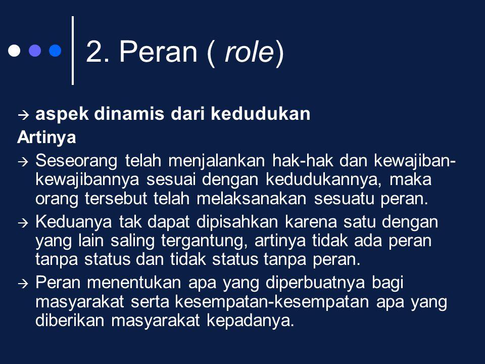 2. Peran ( role)  aspek dinamis dari kedudukan Artinya  Seseorang telah menjalankan hak-hak dan kewajiban- kewajibannya sesuai dengan kedudukannya,
