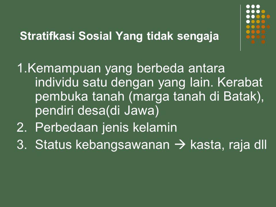 Stratifkasi Sosial Yang tidak sengaja 1.Kemampuan yang berbeda antara individu satu dengan yang lain. Kerabat pembuka tanah (marga tanah di Batak), pe