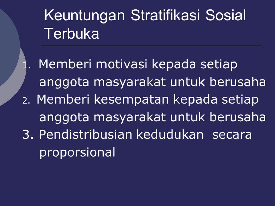 Keuntungan Stratifikasi Sosial Terbuka 1. Memberi motivasi kepada setiap anggota masyarakat untuk berusaha 2. Memberi kesempatan kepada setiap anggota