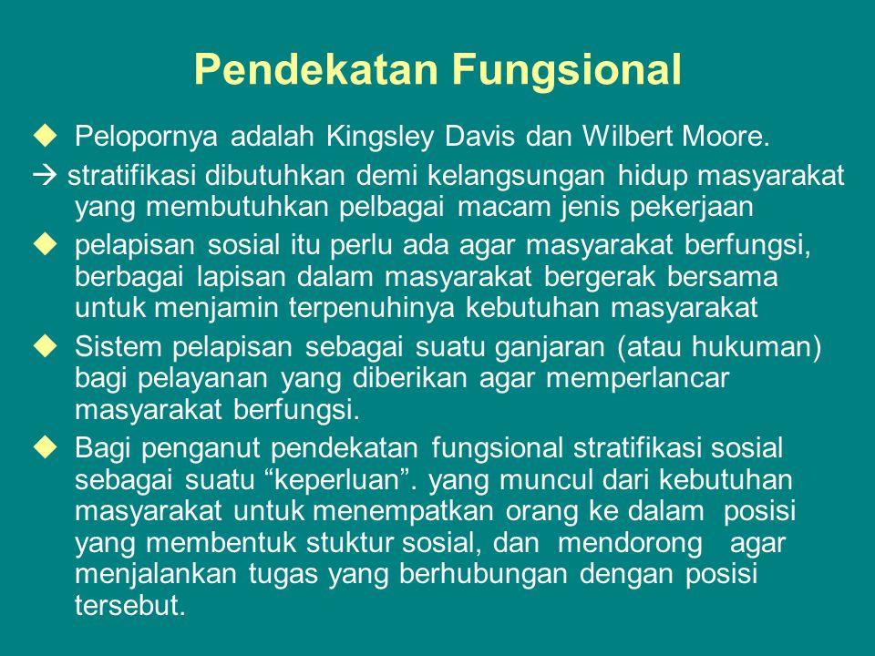 Pendekatan Fungsional  Pelopornya adalah Kingsley Davis dan Wilbert Moore.  stratifikasi dibutuhkan demi kelangsungan hidup masyarakat yang membutuh
