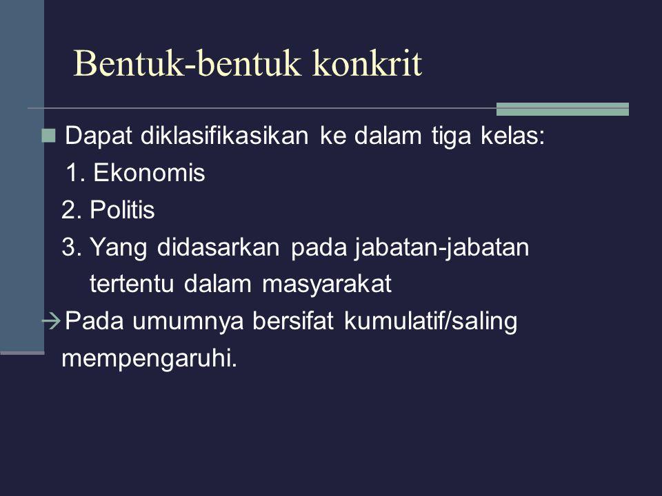 Bentuk-bentuk konkrit Dapat diklasifikasikan ke dalam tiga kelas: 1. Ekonomis 2. Politis 3. Yang didasarkan pada jabatan-jabatan tertentu dalam masyar