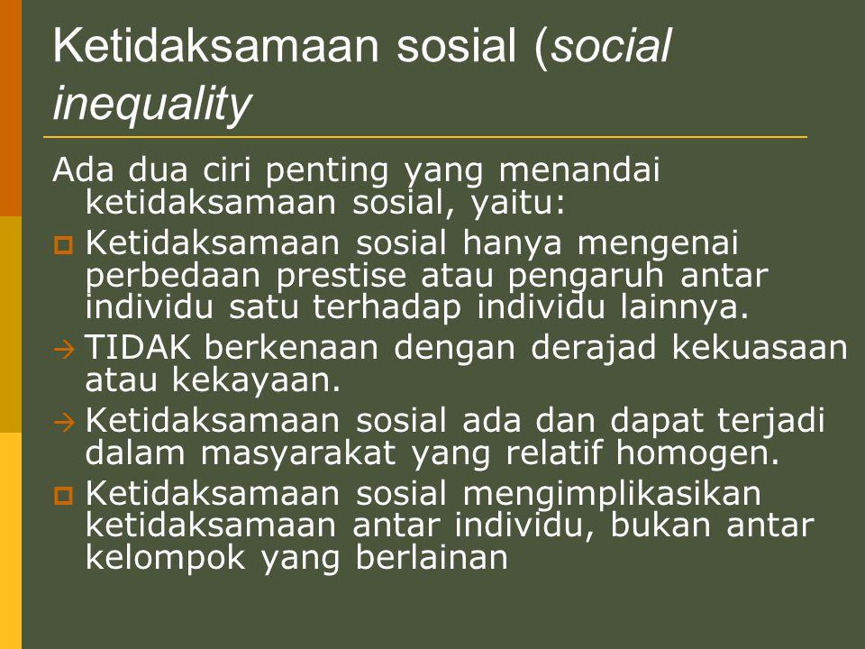 Ketidaksamaan sosial (social inequality Ada dua ciri penting yang menandai ketidaksamaan sosial, yaitu:  Ketidaksamaan sosial hanya mengenai perbedaa