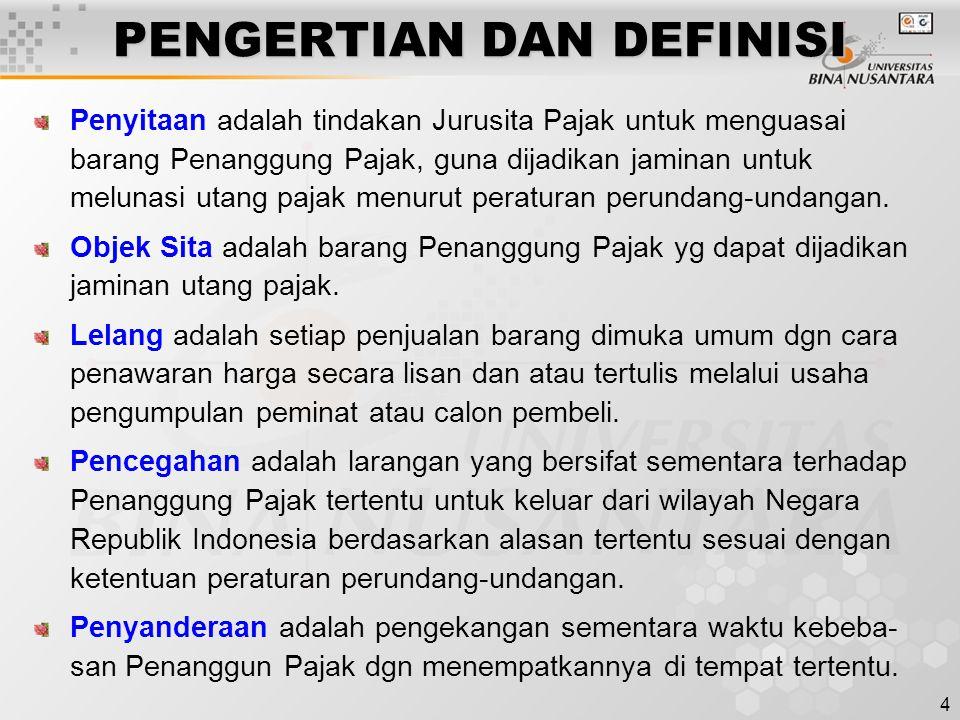 4 PENGERTIAN DAN DEFINISI Penyitaan adalah tindakan Jurusita Pajak untuk menguasai barang Penanggung Pajak, guna dijadikan jaminan untuk melunasi utang pajak menurut peraturan perundang-undangan.
