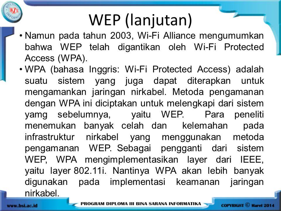 Namun pada tahun 2003, Wi-Fi Alliance mengumumkan bahwa WEP telah digantikan oleh Wi-Fi Protected Access (WPA). WPA (bahasa Inggris: Wi-Fi Protected A